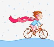 Mädchen auf Fahrrad, Winterhintergrund lizenzfreie abbildung