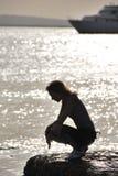 Mädchen auf Meer Stockfotografie