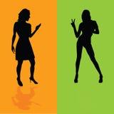 Mädchen auf orange und grüner Hintergrundvektorillustration Stockbilder