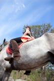Mädchen auf Pferdeansicht von unten Lizenzfreie Stockfotos