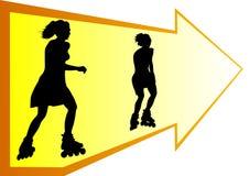 Mädchen auf Rollerochen Stockfoto