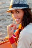 Mädchen auf Strand Stockfotografie