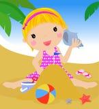 Mädchen auf Strand vektor abbildung