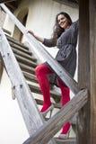 Mädchen auf Treppen Stockbild
