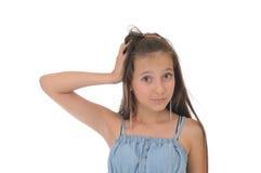 Mädchen auf weißem Hintergrund Lizenzfreies Stockfoto