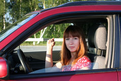 Mädchen in Auto 1 Lizenzfreies Stockbild