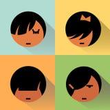 Mädchen-Avataras mit Schatten Lizenzfreies Stockfoto