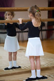 Mädchen am Ballettfaß. Ballett Pas. Stockbilder