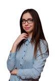 Mädchen beim Glaslächeln Lizenzfreies Stockfoto