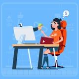 Mädchen Blogger-Sit At Computer Streaming Video-Blogs erwerben Geld-Schöpfer populären Vlog-Kanal vektor abbildung