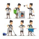 Mädchen Cartoon in einer klassischen Uniform Reinigungsservice Stockfoto