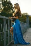 Mädchen, das auf der Brücke steht  stockbilder