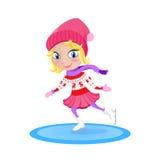 Mädchen, das auf die Eisbahn eisläuft Wintervektorzeichentrickfilm-figur Lizenzfreie Stockbilder