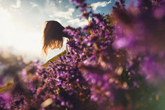 Mädchen, das auf einer Blumenwiese sitzt Stockfotografie