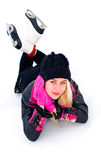 Mädchen, das auf Eis stillsteht Lizenzfreies Stockbild