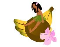 Mädchen, das auf Kokosnuss sitzt Stockbilder
