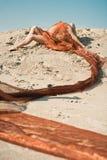 Mädchen, das auf Sand im orange Tuch liegt Stockfoto