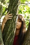 Mädchen, das aus Baum heraus schaut Stockfoto