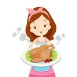 Mädchen, das Brathähnchen auf Teller zeigt Stockbild
