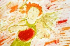 Mädchen, das den Tambourine spielt (gemalt) Lizenzfreie Stockfotos