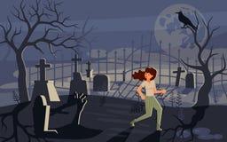 Mädchen, das in der Grausigkeit und im Betrieb weg von dem Zombie schreit stock abbildung