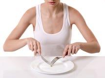 Mädchen, das Diät hält stockbild