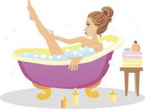 Mädchen, das ein Bad nimmt Stockbilder