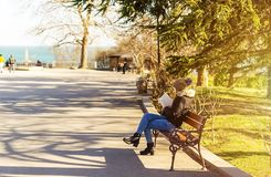 Mädchen, das ein Buch im Park liest Ein Mädchen sitzt auf einer Bank und liest ein Buch in einem Küstenpark an einem warmen und s stockbilder