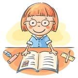 Mädchen, das ein Buch liest vektor abbildung