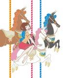 Mädchen, das ein Karussell reitet Stockbilder