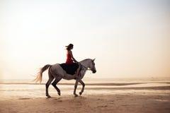 Mädchen, das ein Pferd auf den Hintergrund des Meeres reitet Lizenzfreie Stockbilder
