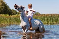Mädchen, das ein Pferd in einem Fluss reitet Stockbild