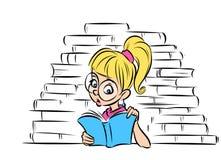 Mädchen, das eine Buchkarikaturillustration liest Lizenzfreie Stockbilder