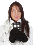 Mädchen, das eine Kaffeetasse anhält stockbilder