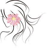 Mädchen, das eine Margaret-Blume trägt Stockfoto