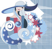 Mädchen, das einen Hut im Textilhintergrund trägt Lizenzfreies Stockfoto
