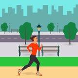 Mädchen, das entlang eine Stadtstraße läuft Rüttelnde Frau in der Stadt Straße, Bäume, Schattenbilder von Gebäuden, Bänke und Lat lizenzfreie abbildung