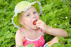 Mädchen, das Erdbeeren isst Stockfotografie