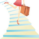 Mädchen, das für Ferien hyrrying ist Lizenzfreies Stockbild