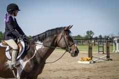 Mädchen, das Farben-Pferd zeigt Stockfotos