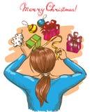 Mädchen, das Geschenke einwickelt lizenzfreie stockbilder