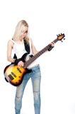 Mädchen, das Gitarre spielt Stockbild