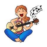 Mädchen, das Gitarrenkarikaturvektor spielt Stockbilder