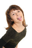 Mädchen, das heraus ihre Zunge haftet Lizenzfreie Stockfotos