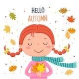 Mädchen, das Herbstlaub hält Hallo Herbstillustration stock abbildung