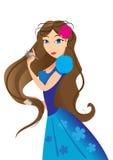 Mädchen, das ihr Haar kämmt vektor abbildung