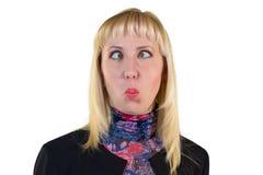 Mädchen, das ihre Augen schielt Lizenzfreies Stockbild