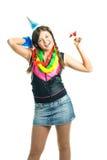 Mädchen, das ihren Geburtstag feiert Lizenzfreie Stockfotos