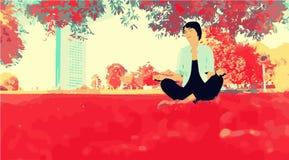 Mädchen, das im Park meditiert vektor abbildung