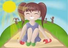 Mädchen, das im Sandkasten spielt. Stockbilder